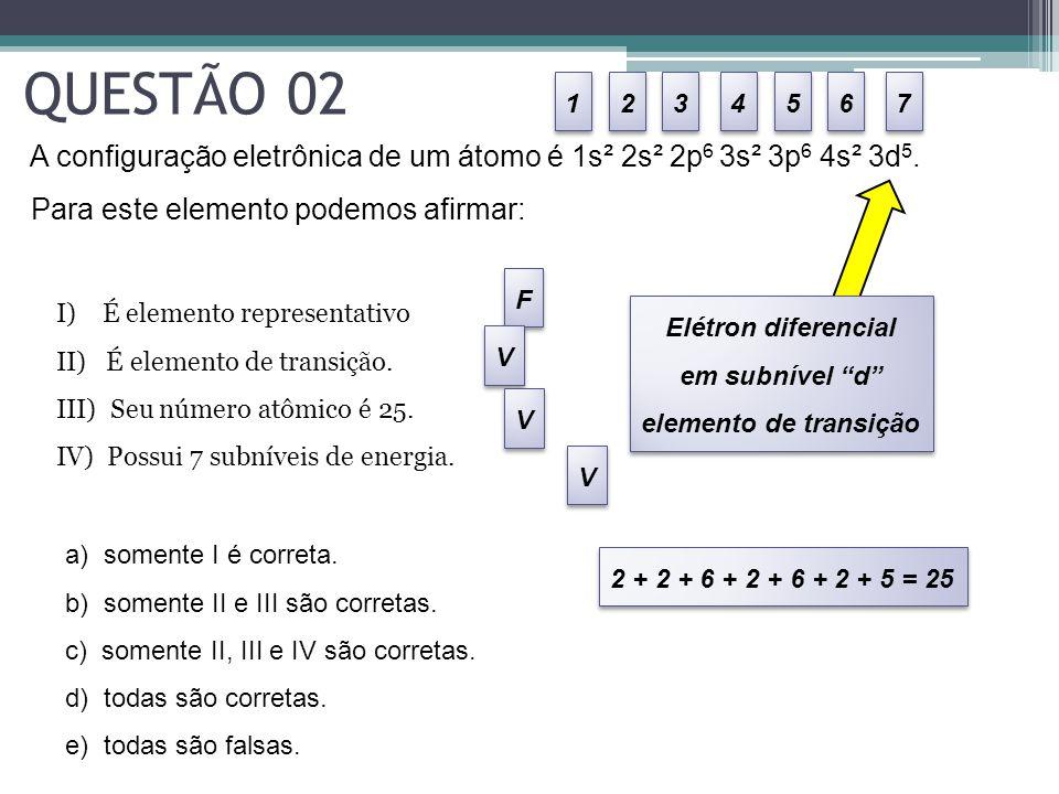 QUESTÃO 02 1. 2. 3. 4. 5. 6. 7. A configuração eletrônica de um átomo é 1s² 2s² 2p6 3s² 3p6 4s² 3d5.