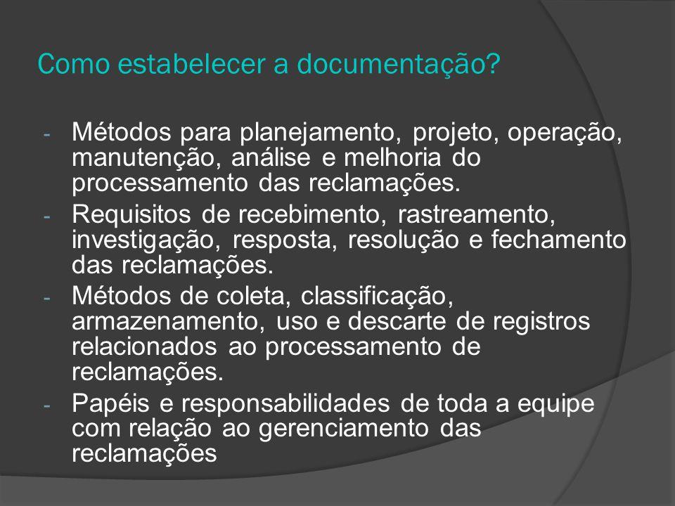 Como estabelecer a documentação
