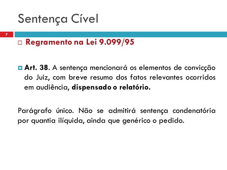 Sentença Cível Regramento na Lei 9.099/95