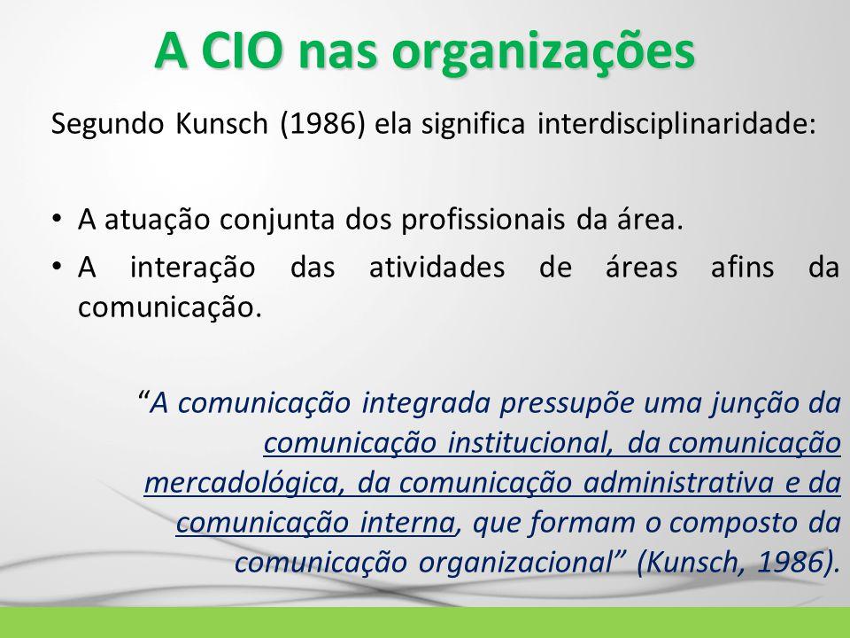 A CIO nas organizações Segundo Kunsch (1986) ela significa interdisciplinaridade: A atuação conjunta dos profissionais da área.