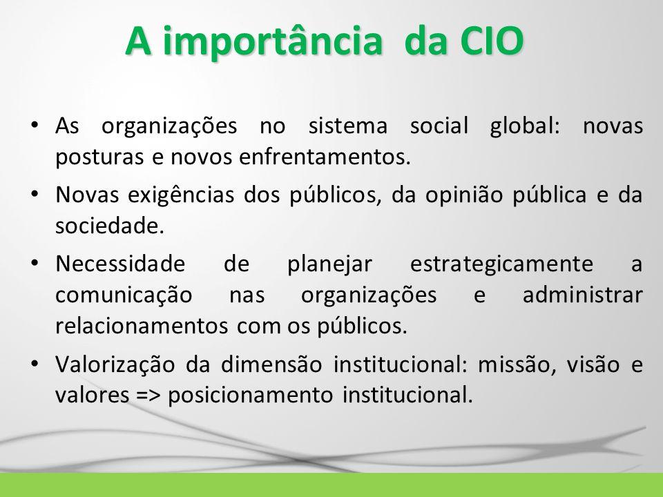 A importância da CIO As organizações no sistema social global: novas posturas e novos enfrentamentos.