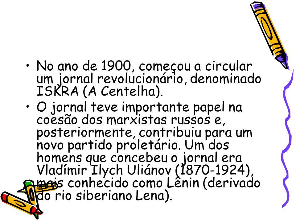 No ano de 1900, começou a circular um jornal revolucionário, denominado ISKRA (A Centelha).
