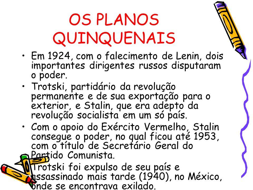 OS PLANOS QUINQUENAIS Em 1924, com o falecimento de Lenin, dois importantes dirigentes russos disputaram o poder.