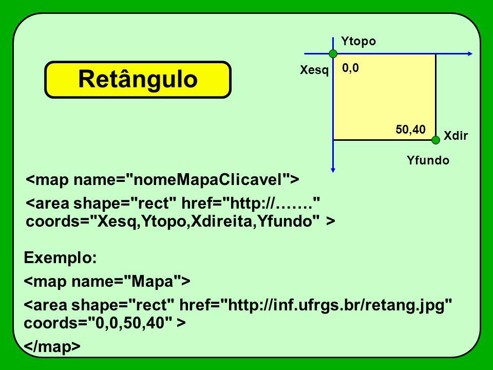 Retângulo <map name= nomeMapaClicavel >