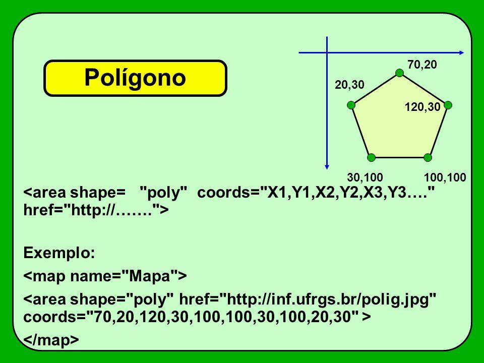70,20 Polígono. 20,30. 120,30. 30,100. 100,100. <area shape= poly coords= X1,Y1,X2,Y2,X3,Y3…. href= http://……. >