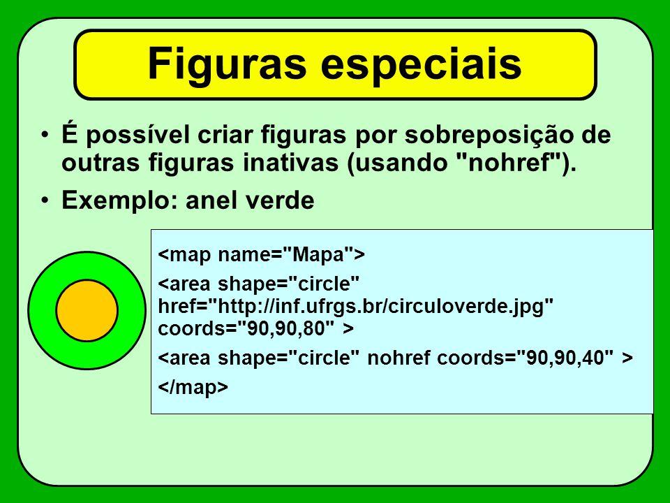 Figuras especiais É possível criar figuras por sobreposição de outras figuras inativas (usando nohref ).