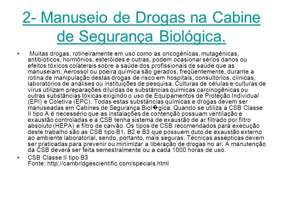 2- Manuseio de Drogas na Cabine de Segurança Biológica.
