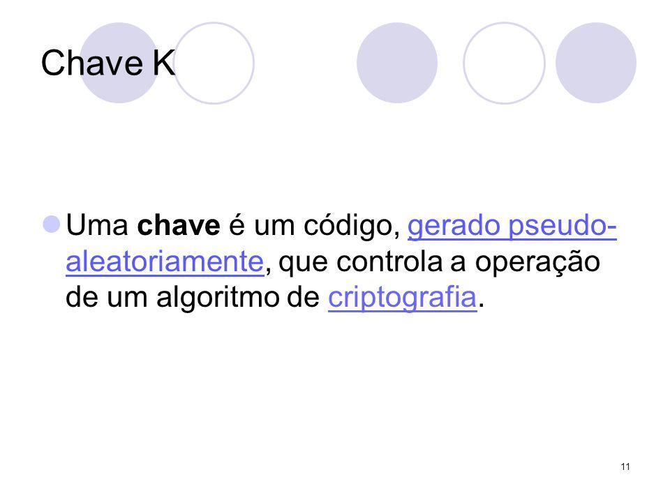 Chave K Uma chave é um código, gerado pseudo-aleatoriamente, que controla a operação de um algoritmo de criptografia.