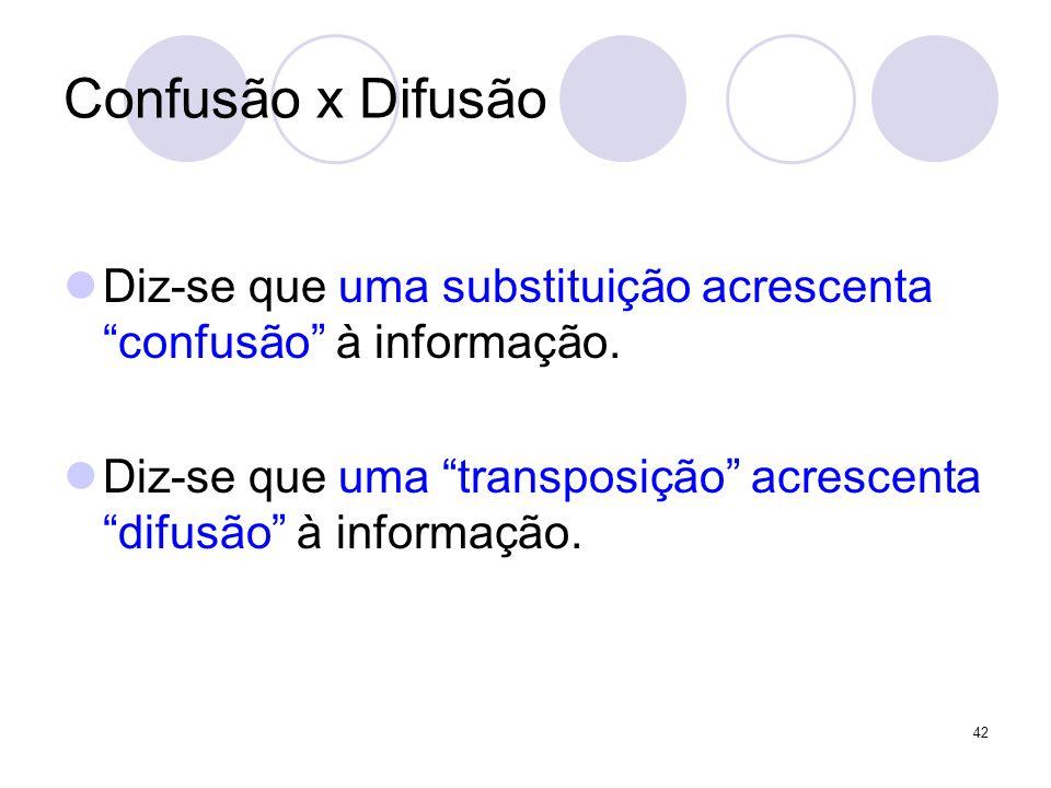 Confusão x Difusão Diz-se que uma substituição acrescenta confusão à informação.
