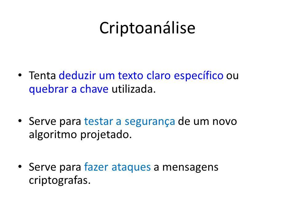 Criptoanálise Tenta deduzir um texto claro específico ou quebrar a chave utilizada. Serve para testar a segurança de um novo algoritmo projetado.