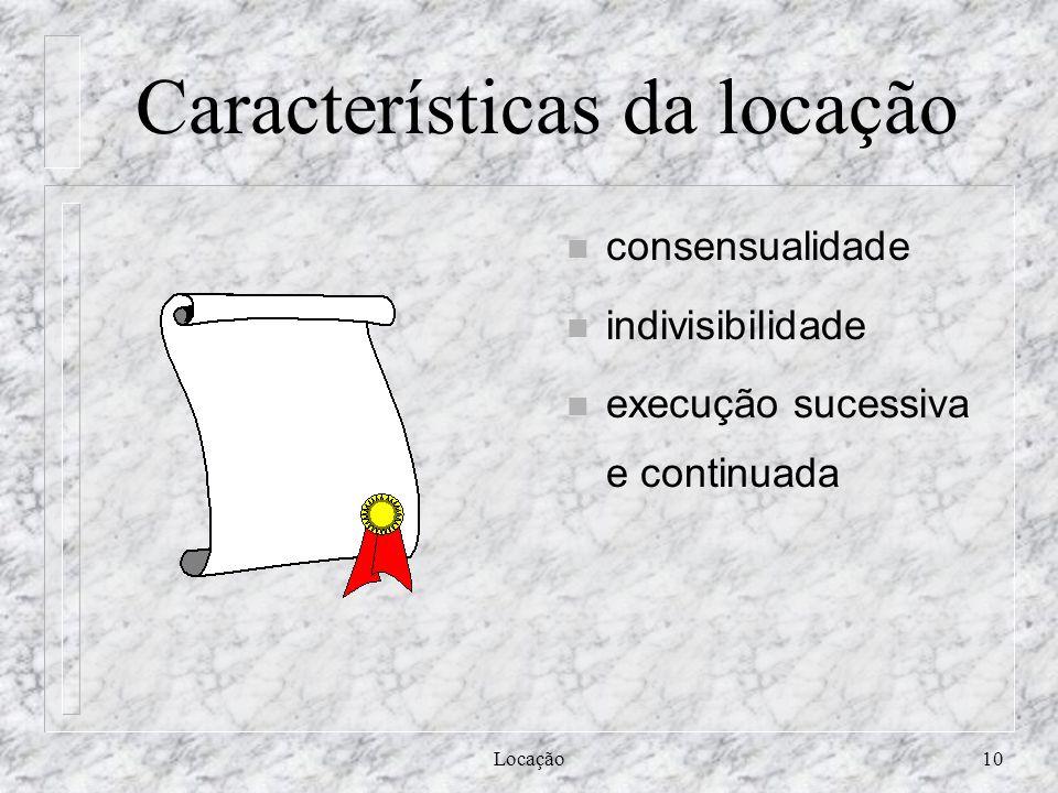 Características da locação
