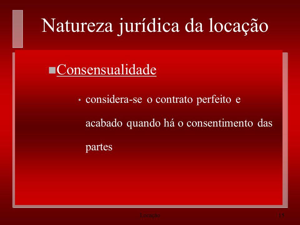 Natureza jurídica da locação