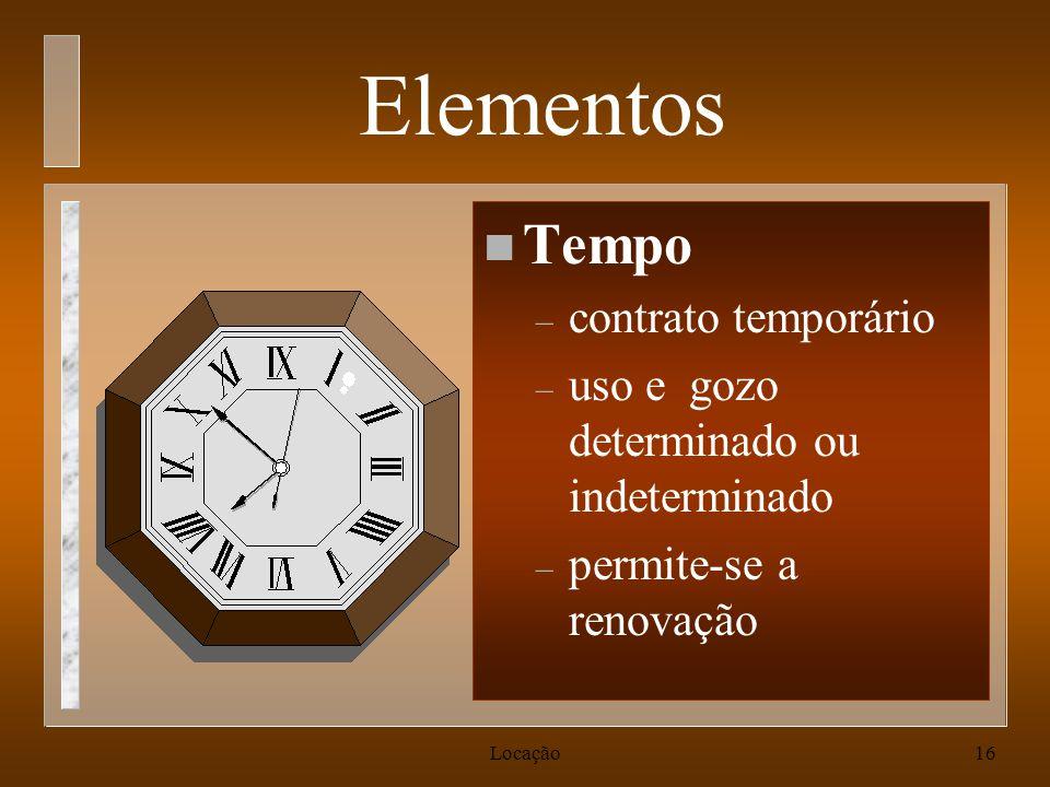 Elementos Tempo contrato temporário