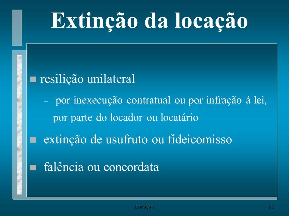 Extinção da locação resilição unilateral