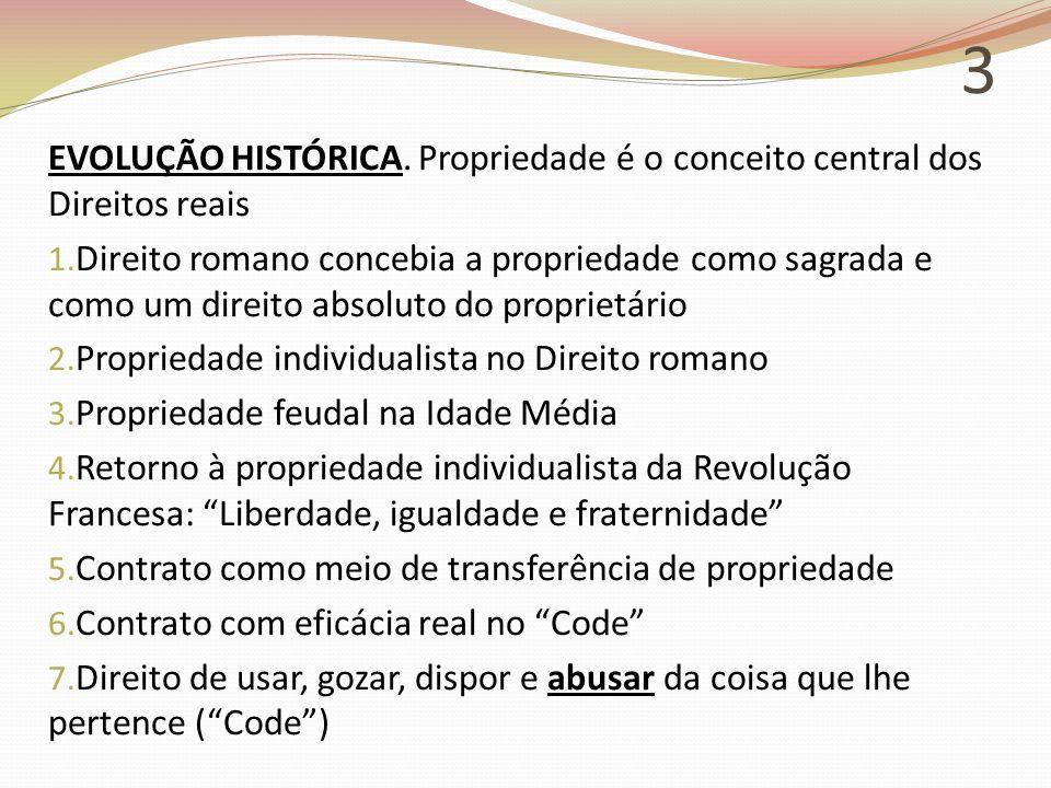 3 EVOLUÇÃO HISTÓRICA. Propriedade é o conceito central dos Direitos reais.