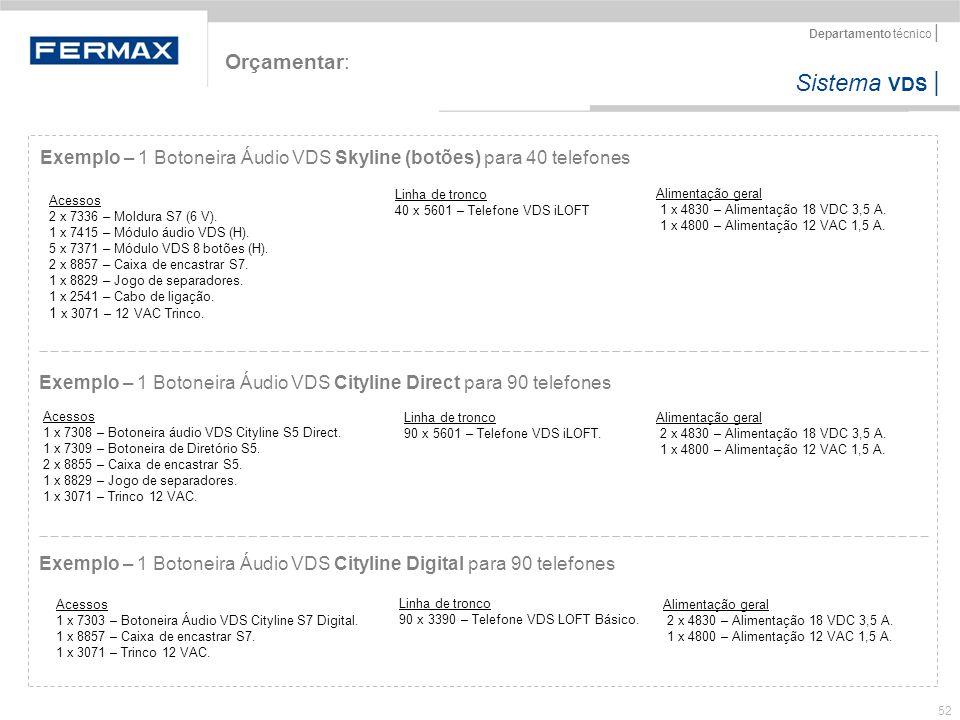 Orçamentar: Exemplo – 1 Botoneira Áudio VDS Skyline (botões) para 40 telefones.