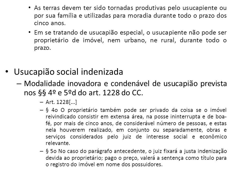 Usucapião social indenizada
