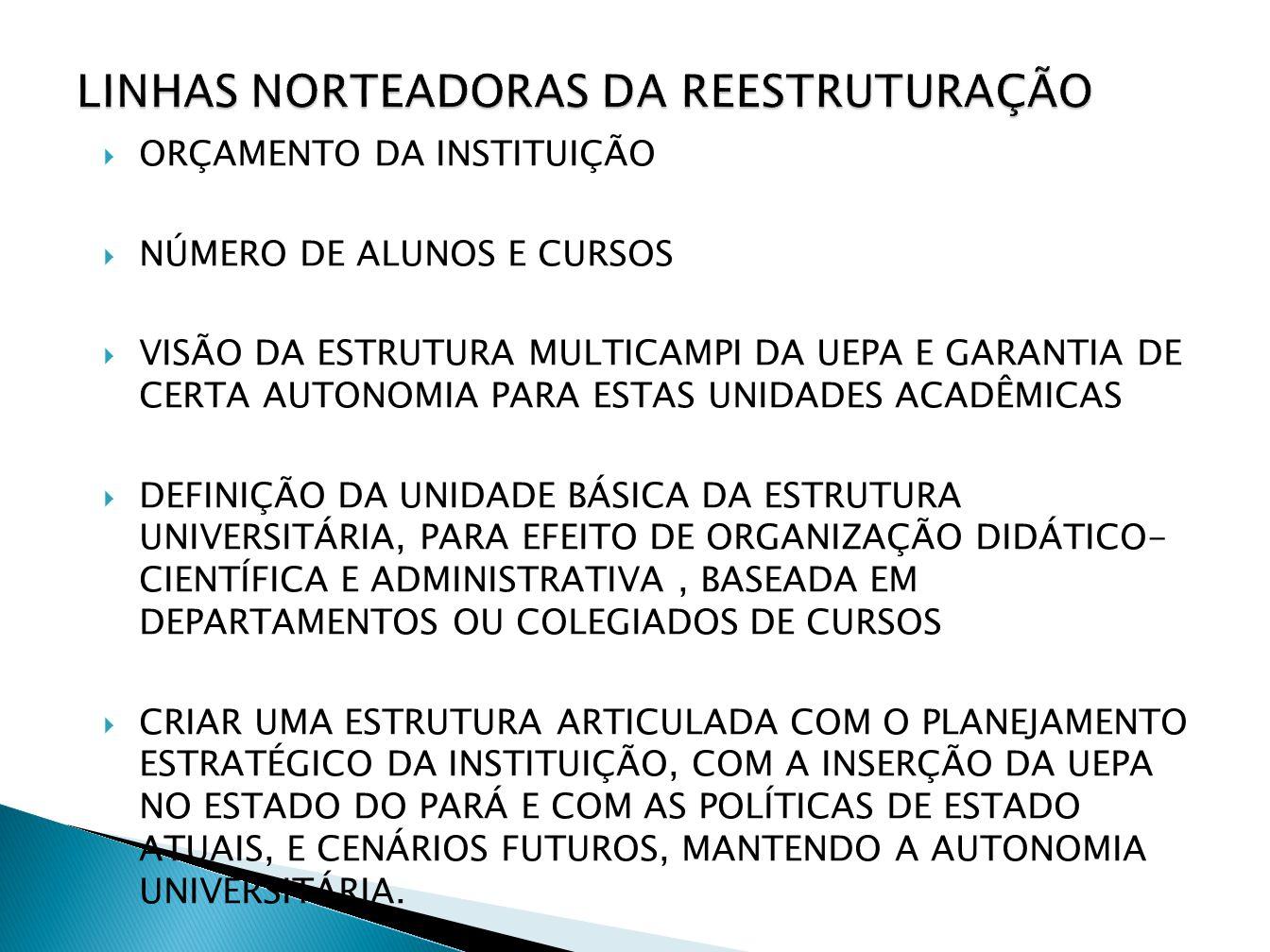 LINHAS NORTEADORAS DA REESTRUTURAÇÃO