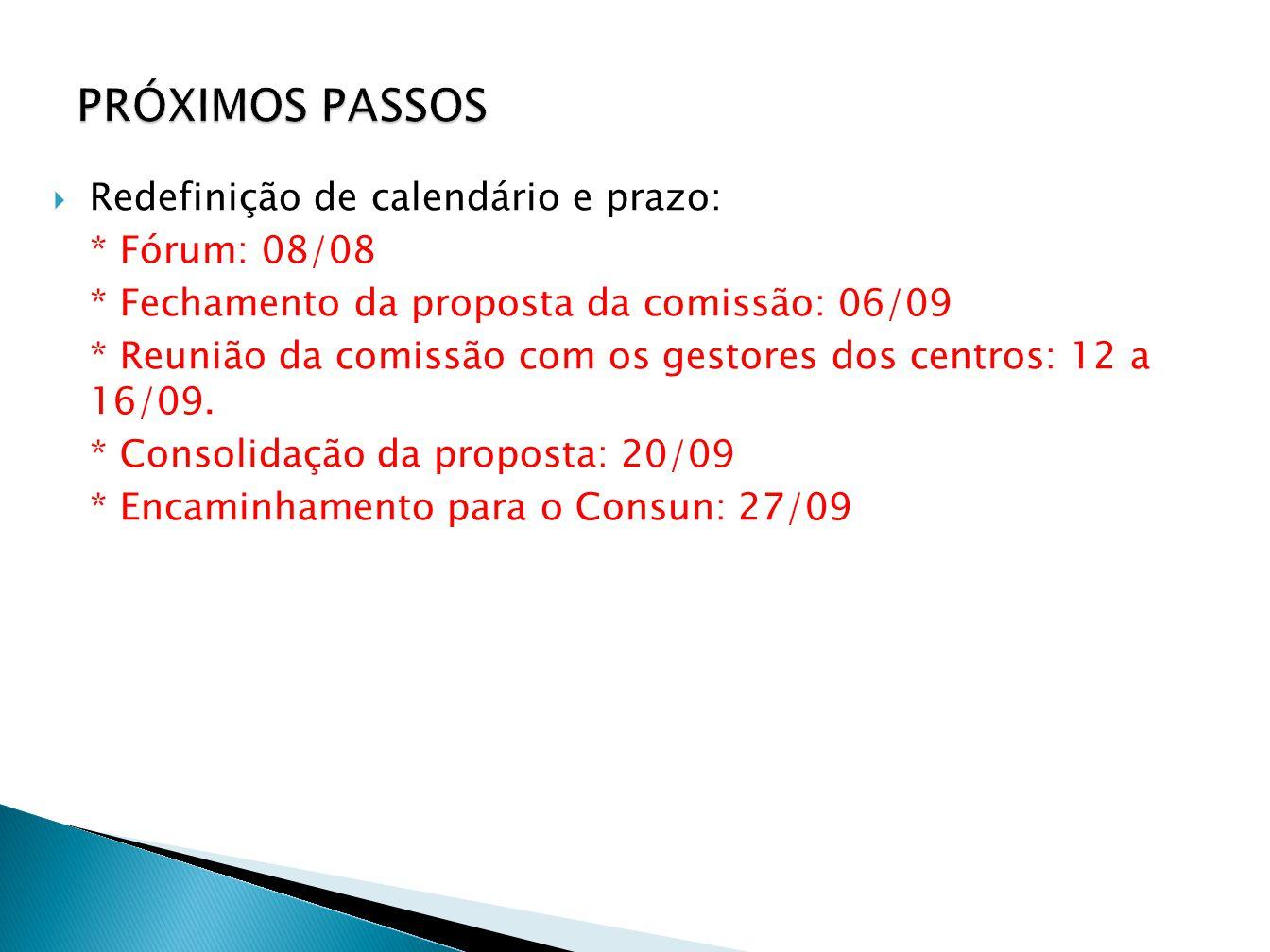 PRÓXIMOS PASSOS Redefinição de calendário e prazo: * Fórum: 08/08