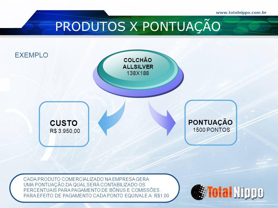 PRODUTOS X PONTUAÇÃO PONTUAÇÃO CUSTO EXEMPLO COLCHÃO ALLSILVER 138X188