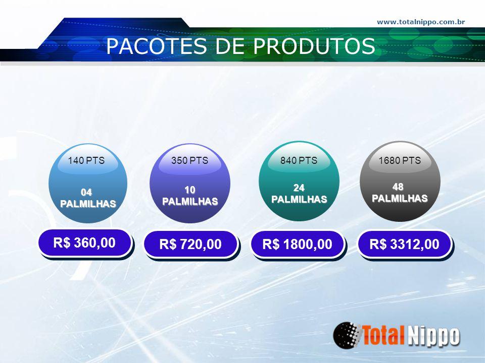 PACOTES DE PRODUTOS R$ 360,00 R$ 720,00 R$ 1800,00 R$ 3312,00 04