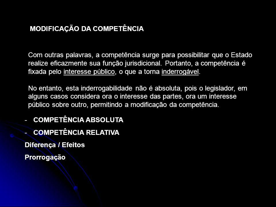 MODIFICAÇÃO DA COMPETÊNCIA