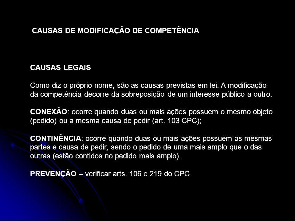 CAUSAS DE MODIFICAÇÃO DE COMPETÊNCIA