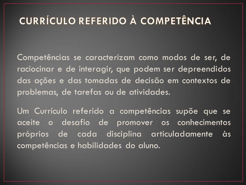 CURRÍCULO REFERIDO À COMPETÊNCIA