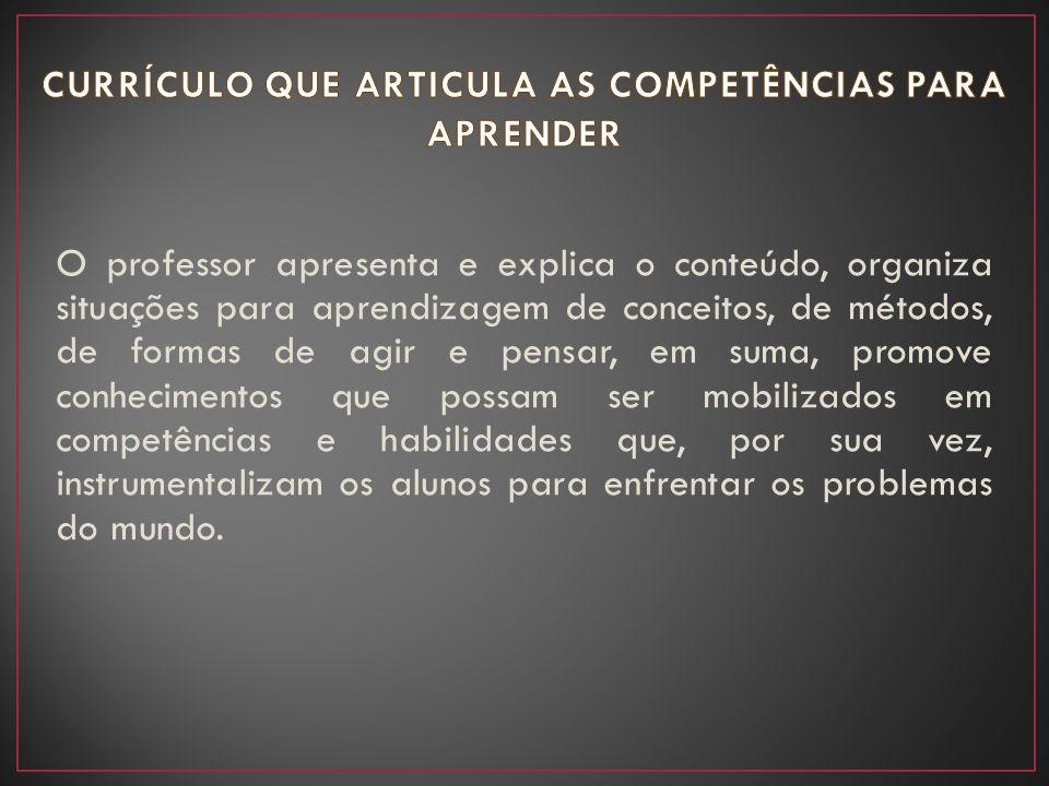 CURRÍCULO QUE ARTICULA AS COMPETÊNCIAS PARA APRENDER