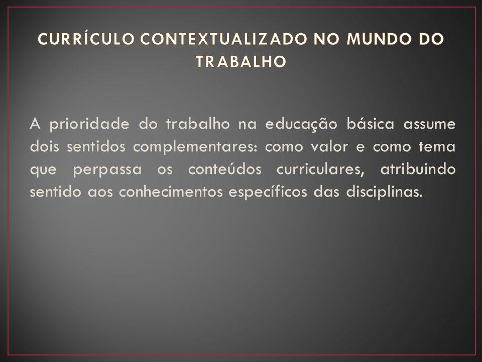 CURRÍCULO CONTEXTUALIZADO NO MUNDO DO TRABALHO