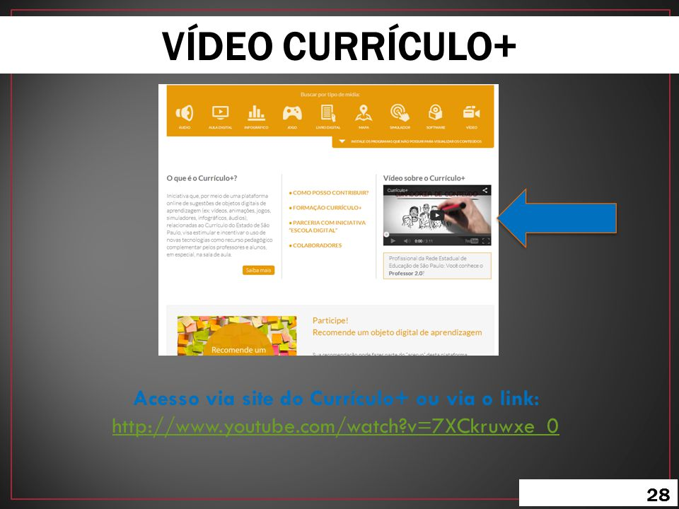 VÍDEO CURRÍCULO+ Acesso via site do Currículo+ ou via o link: http://www.youtube.com/watch v=7XCkruwxe_0.