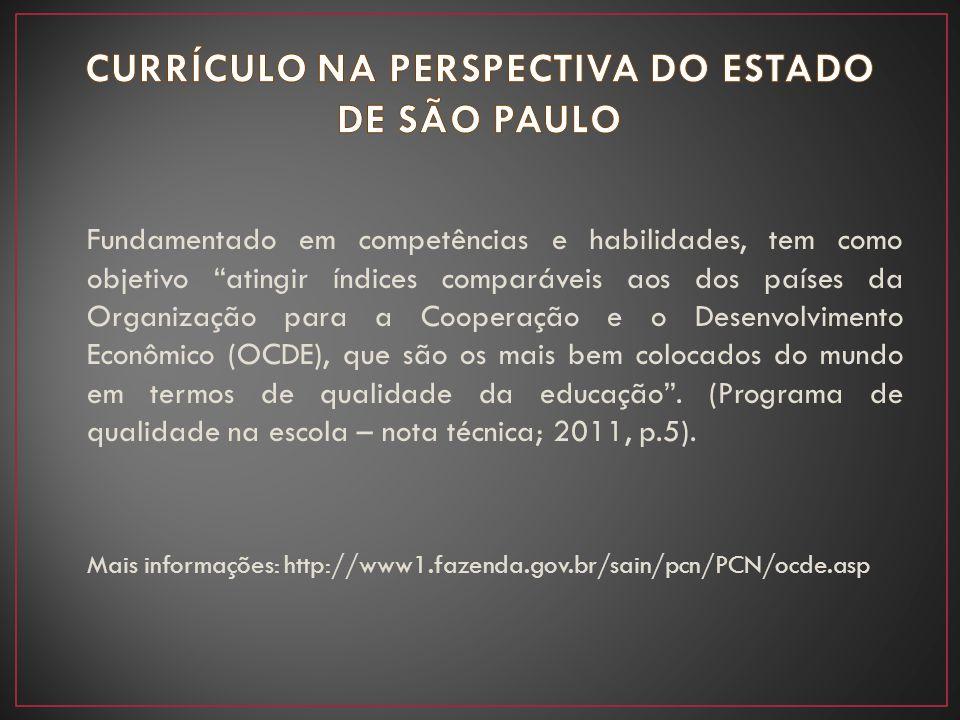 CURRÍCULO NA PERSPECTIVA DO ESTADO DE SÃO PAULO