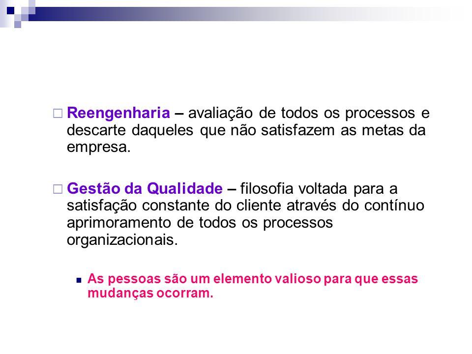 Reengenharia – avaliação de todos os processos e descarte daqueles que não satisfazem as metas da empresa.