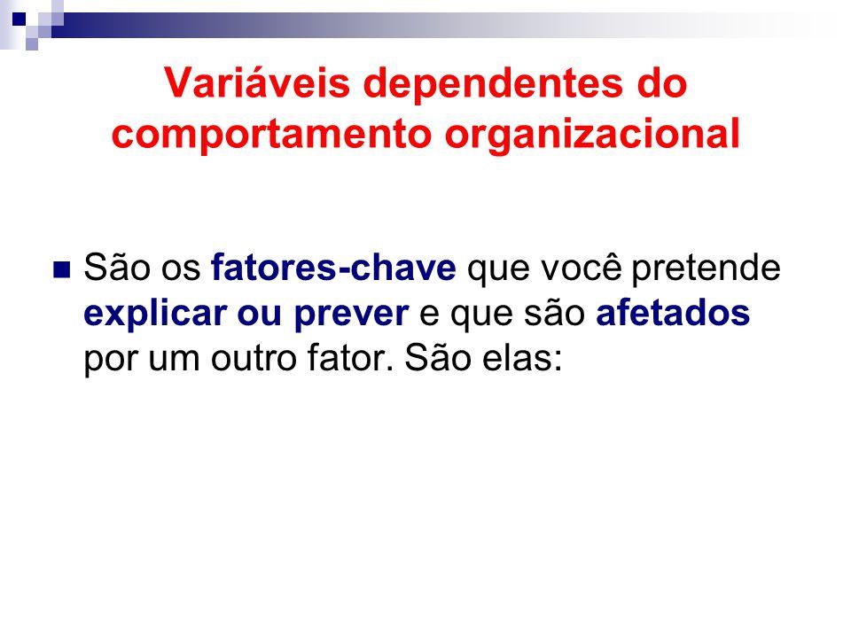 Variáveis dependentes do comportamento organizacional