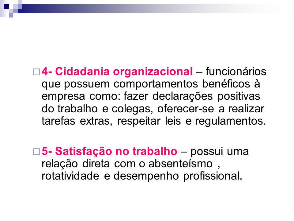 4- Cidadania organizacional – funcionários que possuem comportamentos benéficos à empresa como: fazer declarações positivas do trabalho e colegas, oferecer-se a realizar tarefas extras, respeitar leis e regulamentos.