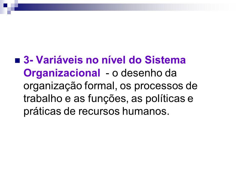 3- Variáveis no nível do Sistema Organizacional - o desenho da organização formal, os processos de trabalho e as funções, as políticas e práticas de recursos humanos.