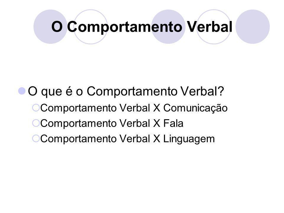 O Comportamento Verbal
