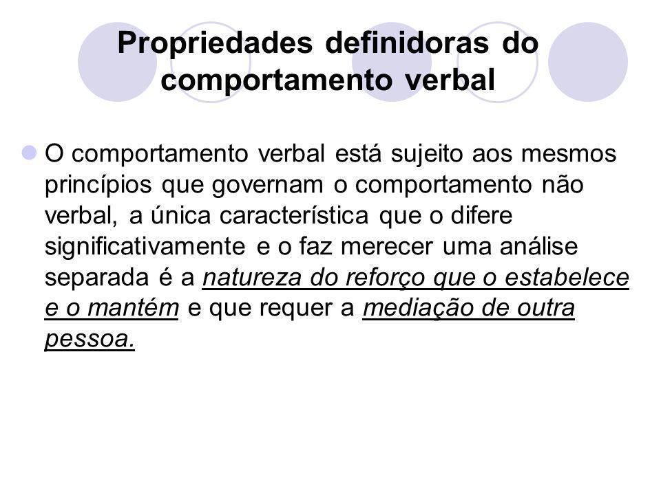 Propriedades definidoras do comportamento verbal