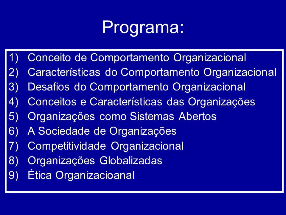 Programa: Conceito de Comportamento Organizacional