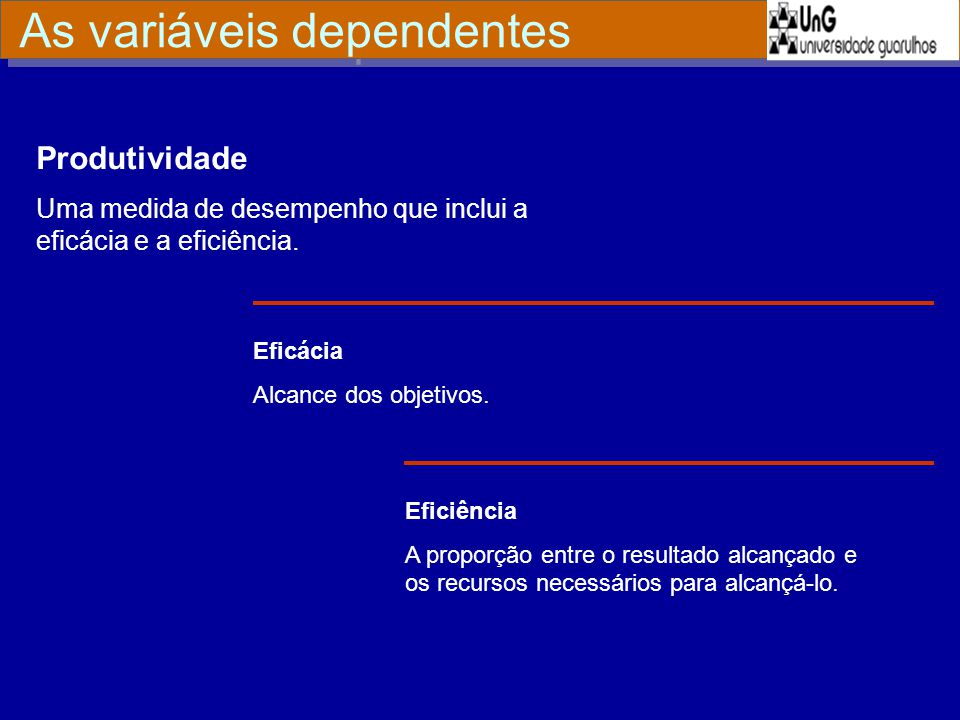 As variáveis dependentes