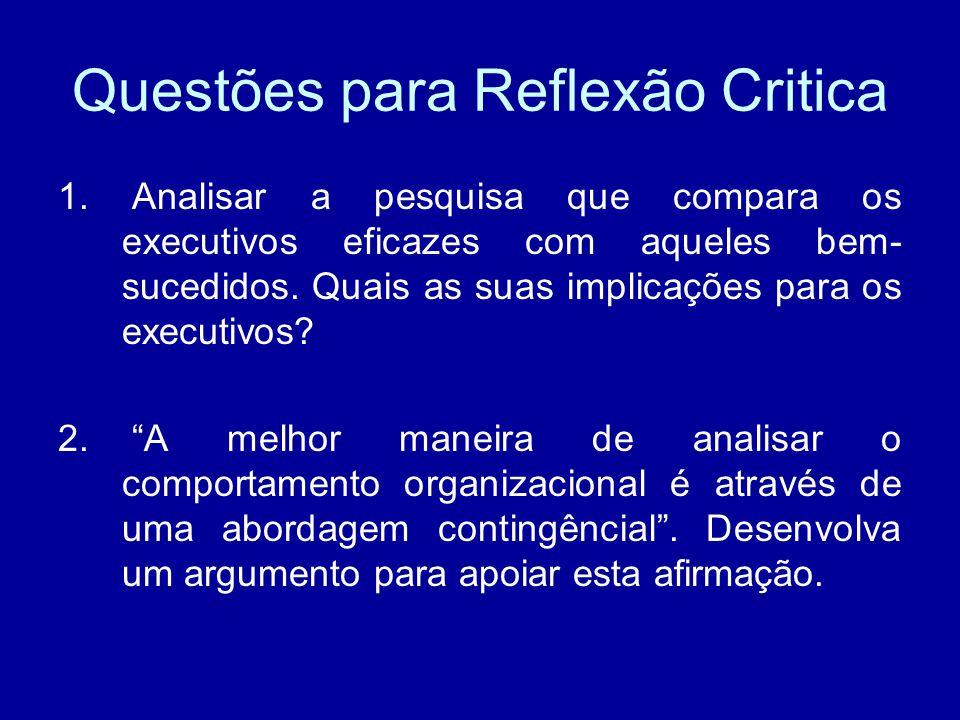 Questões para Reflexão Critica