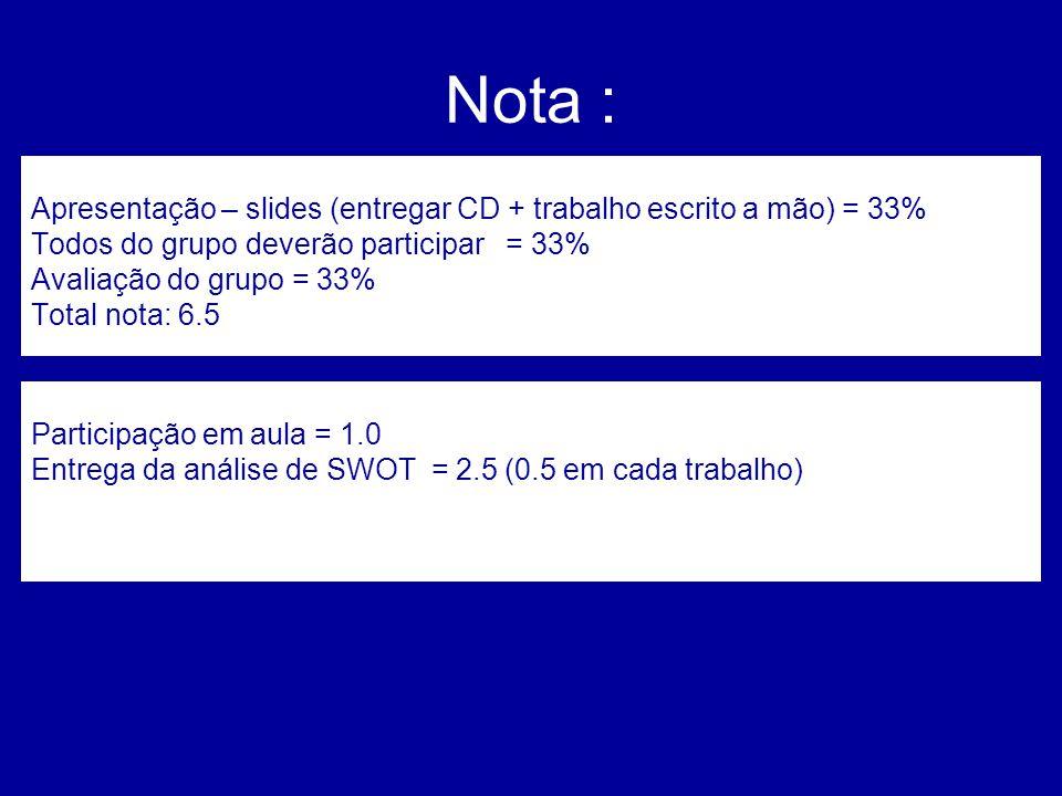 Nota : Apresentação – slides (entregar CD + trabalho escrito a mão) = 33% Todos do grupo deverão participar = 33%