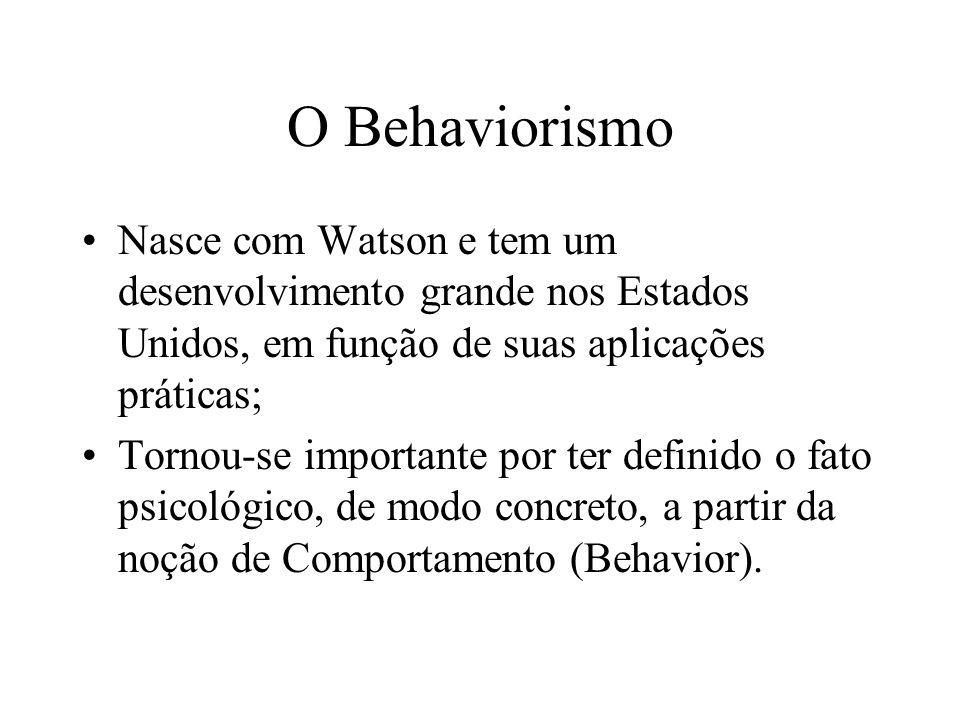 O Behaviorismo Nasce com Watson e tem um desenvolvimento grande nos Estados Unidos, em função de suas aplicações práticas;