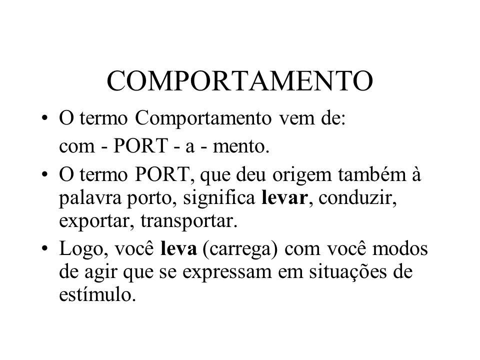 COMPORTAMENTO O termo Comportamento vem de: com - PORT - a - mento.