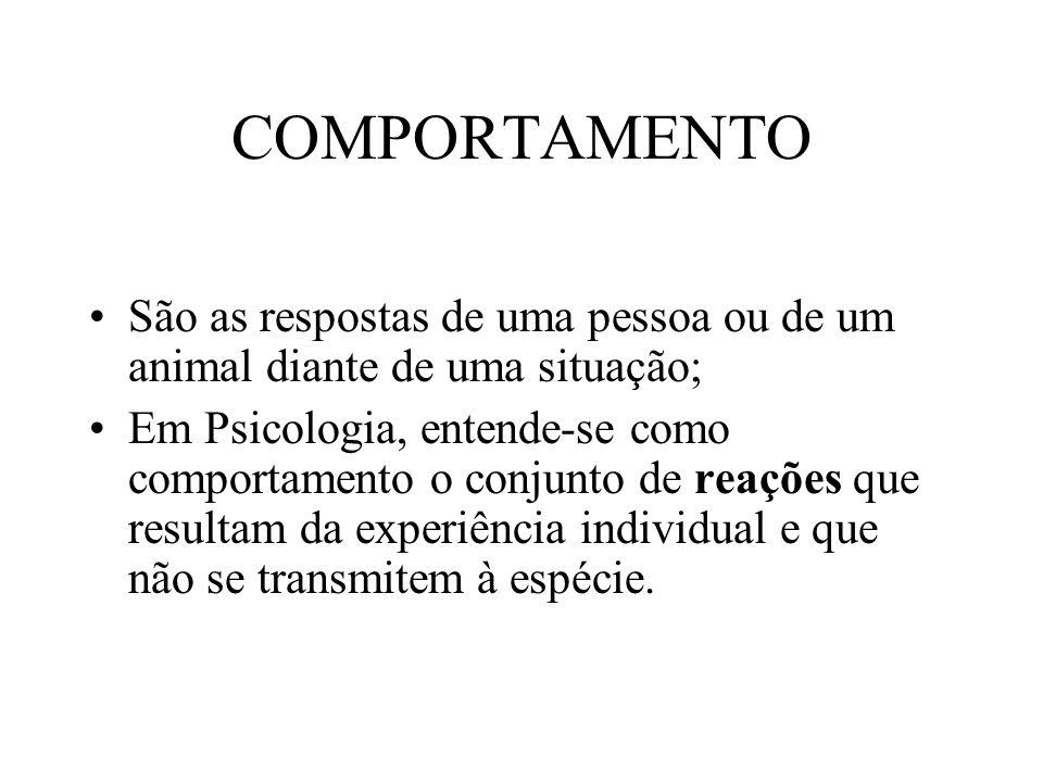 COMPORTAMENTO São as respostas de uma pessoa ou de um animal diante de uma situação;