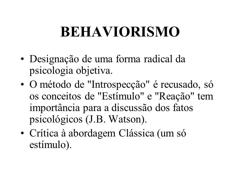 BEHAVIORISMO Designação de uma forma radical da psicologia objetiva.