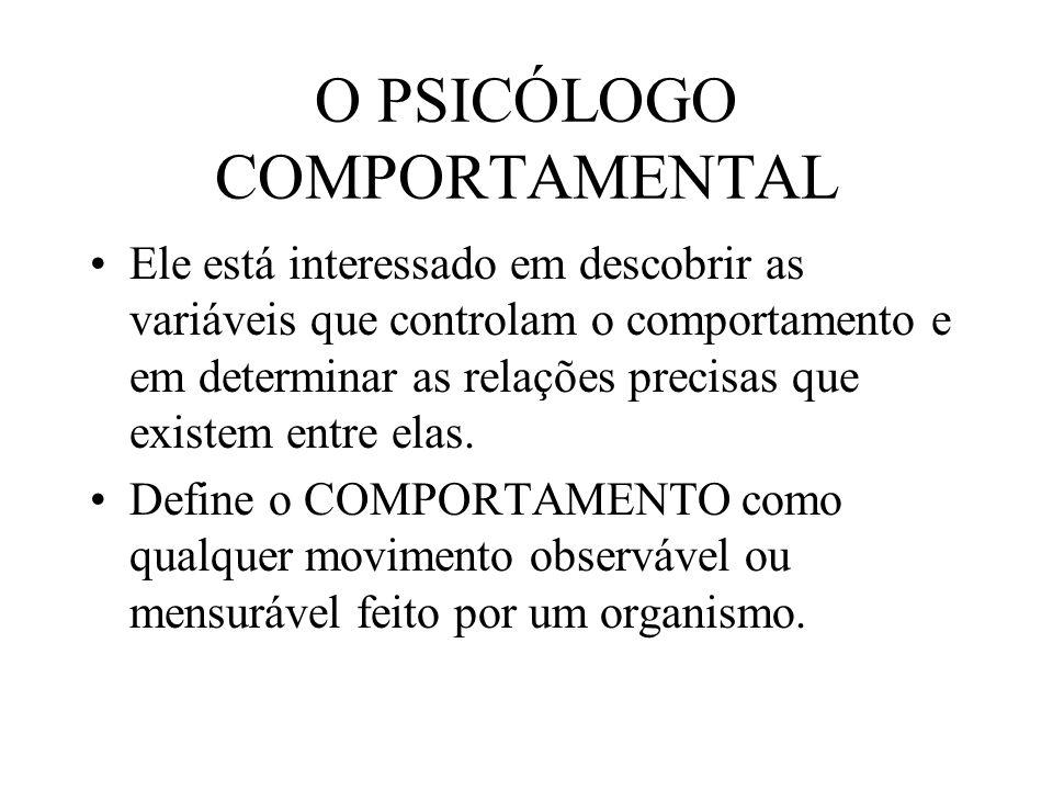 O PSICÓLOGO COMPORTAMENTAL