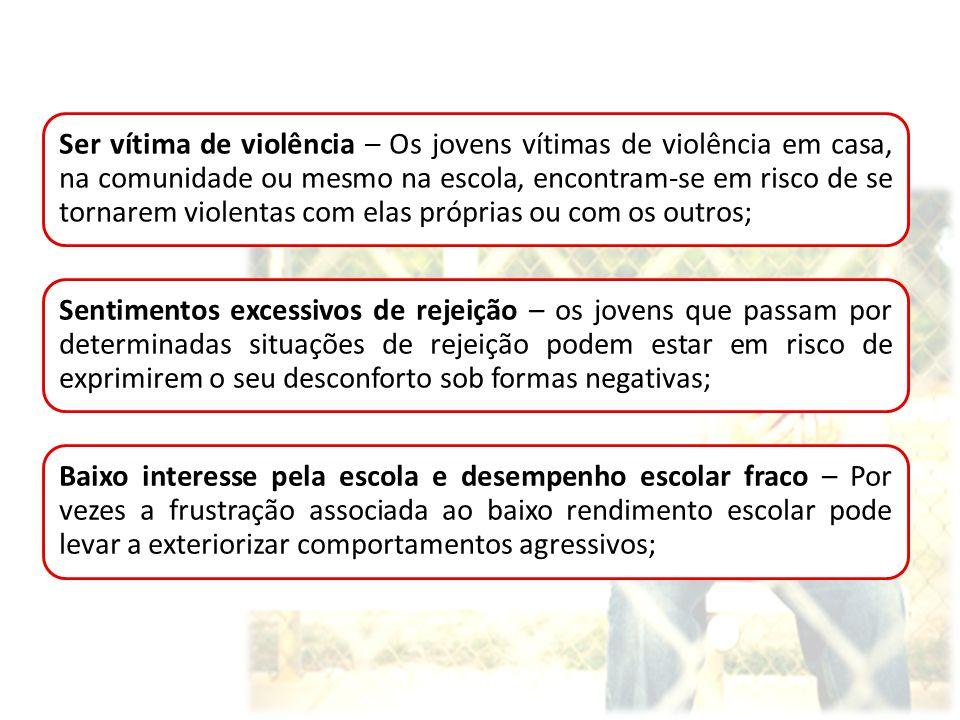 Ser vítima de violência – Os jovens vítimas de violência em casa, na comunidade ou mesmo na escola, encontram-se em risco de se tornarem violentas com elas próprias ou com os outros;