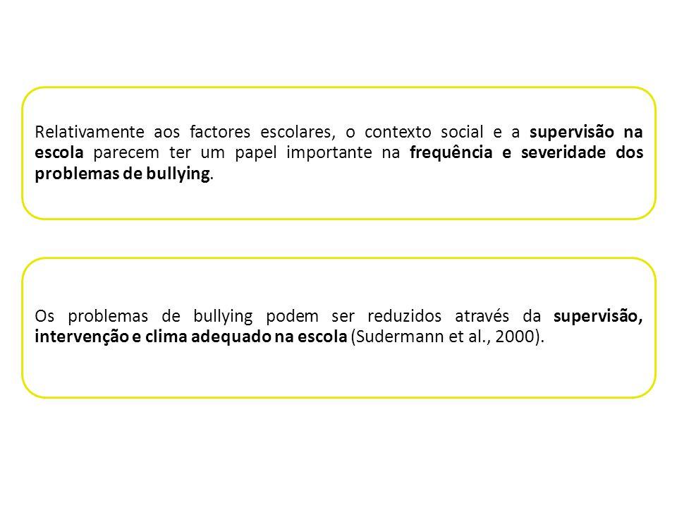 Relativamente aos factores escolares, o contexto social e a supervisão na escola parecem ter um papel importante na frequência e severidade dos problemas de bullying.