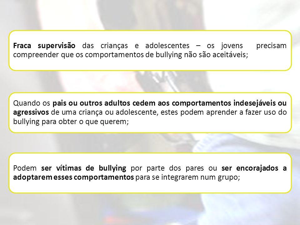 Fraca supervisão das crianças e adolescentes – os jovens precisam compreender que os comportamentos de bullying não são aceitáveis;